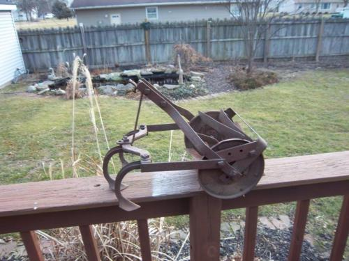 3 tine antique garden farm cultivator tiller push hand plow yard art steampunk