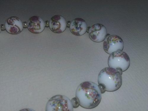 Vintage Murano Art Glass Wedding Cake Beads Necklace FABULOUS Valentine's Day