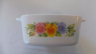 Corning Casserole Dish Pansies Purple Re Yellow 6 1/2 inch Corningware