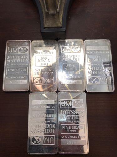 (6) 10 Ounce Johnson Matthey Silver Bullion Bars .999 Fine