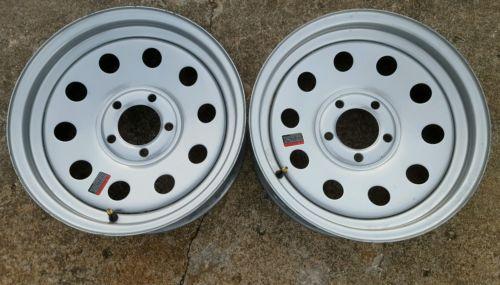 15x5 trailer wheel silver lot (2) 5 lug on 4.5