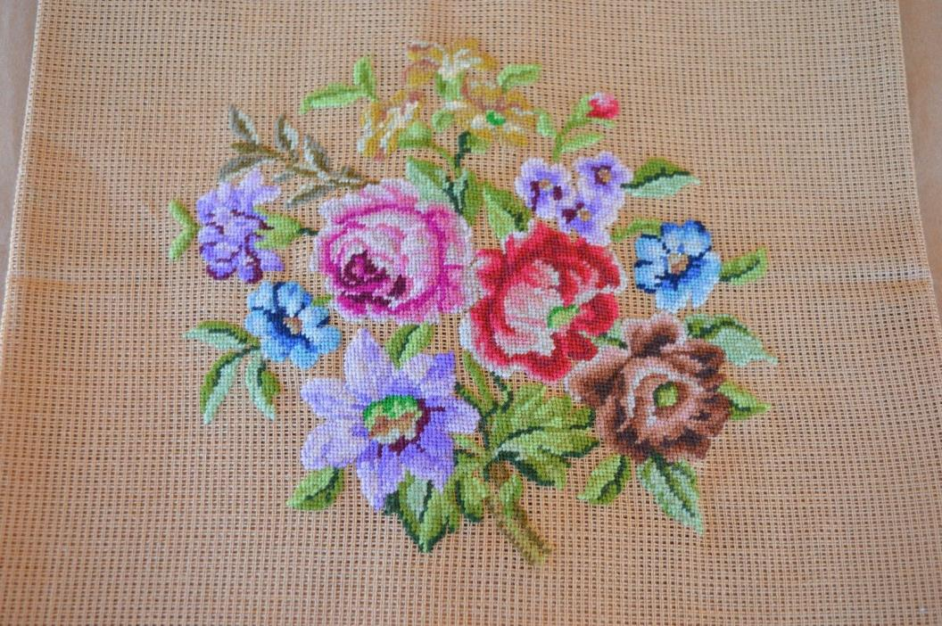 VTG Petite Point Needlepoint Tapestry Floral Lavender Blue Pink Red Incomplete