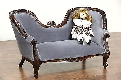 Victorian Style Carved Mahogany Vintage Child or Doll Size Velvet Sofa