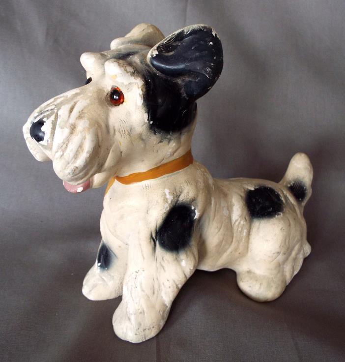 Chalkware Dog Figurine Vintage Scottie Scottish Airedale Terrier