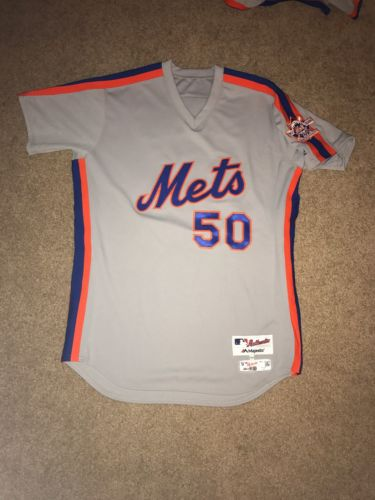 Rafael Montero 2016 Team Issued NY Mets 1986 Road Throwback Jersey - Patch - MLB