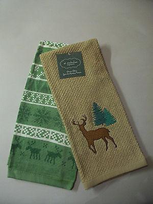 2 CHRISTMAS KITCHEN TOWELS NIP BUCK DEER & PINE TREE 100% Cotton