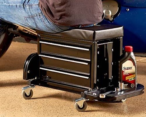 Tool box with Wheels Rolling Work Seat Tray Garage Portable Storage Tools Chest
