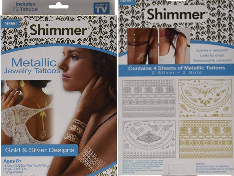Shimmer Metallic Jewelry Tattoos -Gold & Silver Designs Ages 8+ For Party Beauty