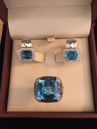 18k White Gold Woman's Earrings / Ring Set w/ Blue Topaz and Diamonds