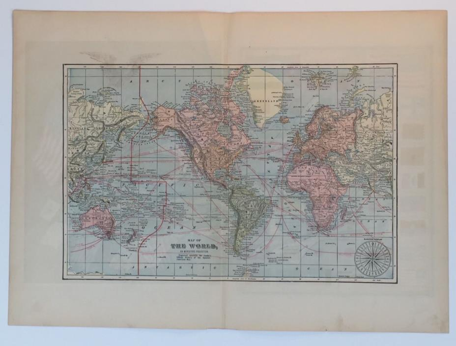 Map of the world Leslie's Official history of the Spanish American War  1899