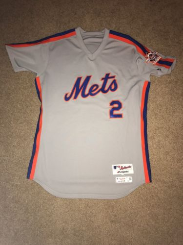 Dilson Herrera 2016 Team Issued NY Mets 1986 Road Throwback Jersey - Patch - MLB