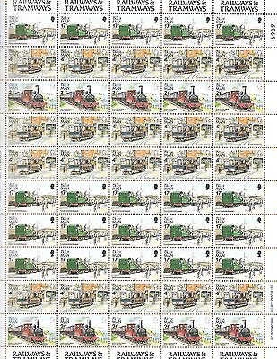 Isle of Man Stamps SC#'s 448,356, & 458 Railways & Tramways Sht of 50 MNH 1991