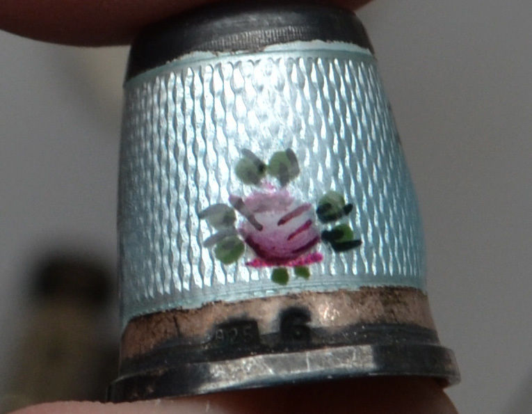 STERLING SILVER ENAMEL GUILLOCHE FLORAL FLOWER THIMBLE STONE TOP SIZE 6