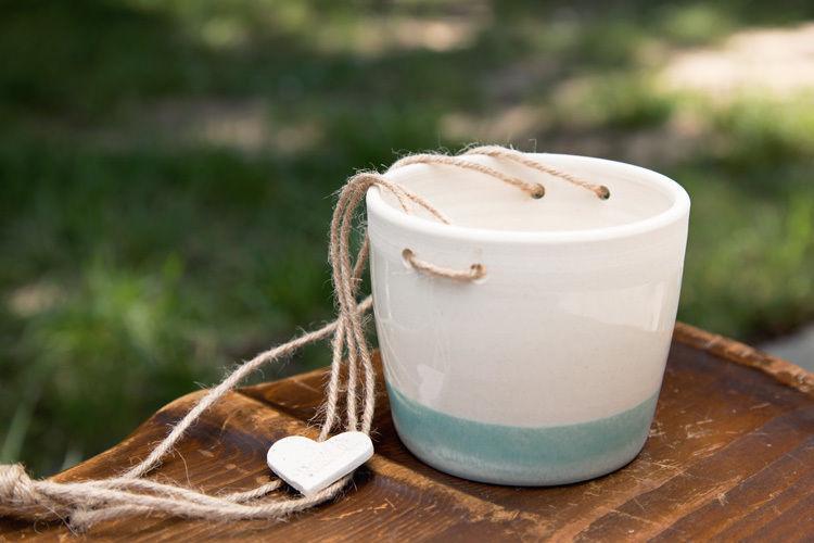 Cute Cream/Blue Glazed w/Jute Pottery Hanging  Planter Signed,15''H.