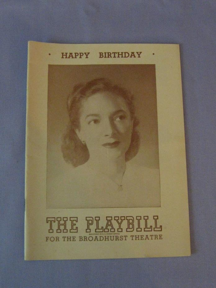 Vintage Happy Birthday Playbill The Broadhurst Theatre Rogers Hammerstein