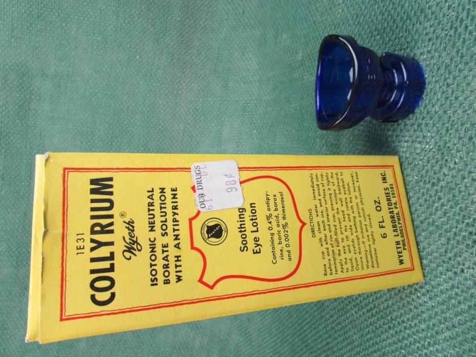 Collyrium Wyeth blue bottle with 2 eye wash cups and original box 1/2 full
