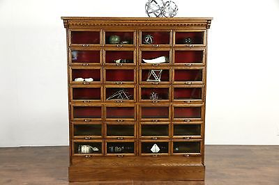 Oak Antique File Cabinet, 28 Glass Front Display Drawers Signed Warren, Chicago