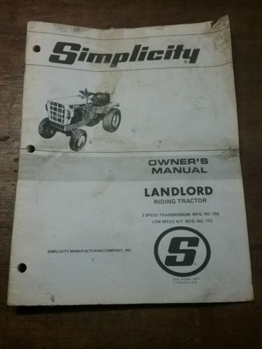Original Simplicity Landlord 755 Riding Garden Lawn Tractor Owners Manual