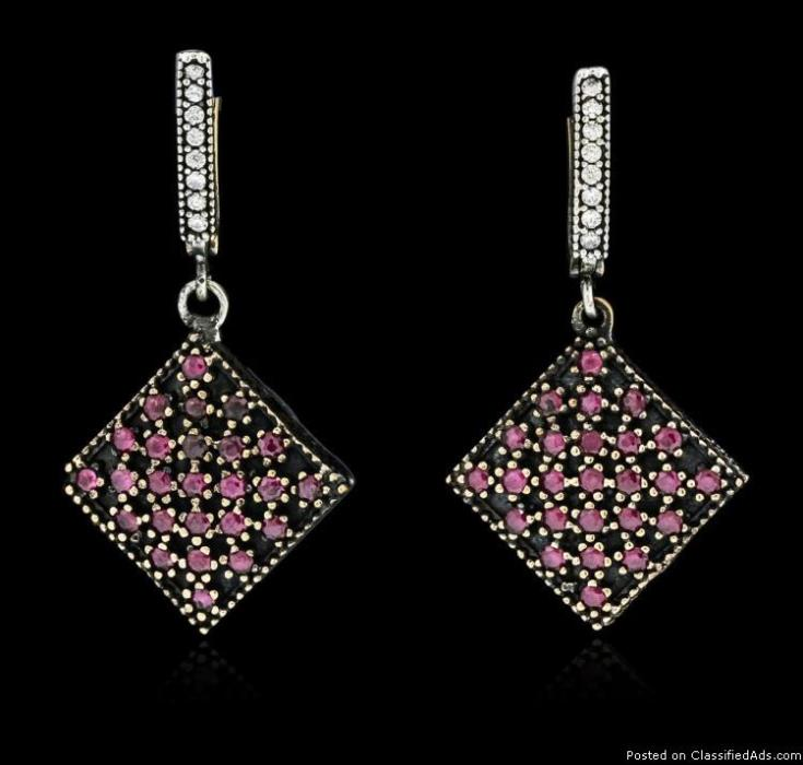 SILVER 3.3ctw Cubic Zirconia Earrings