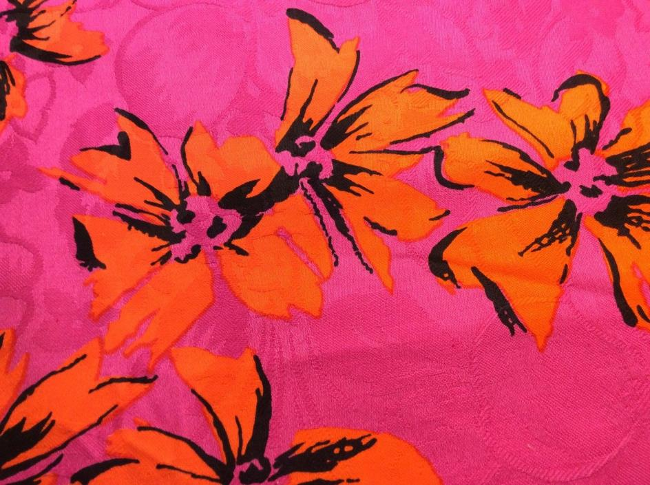 MOD Cotton Damask Fabric Deep Pink/Bright Orange Flowers Floral 4 yards