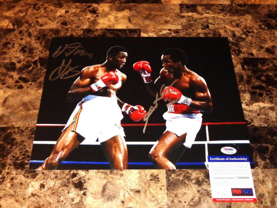 Thomas Hitman Hearns Vs Sugar Ray Leonard Signed Rare 11x14 Boxing Photo PSA COA