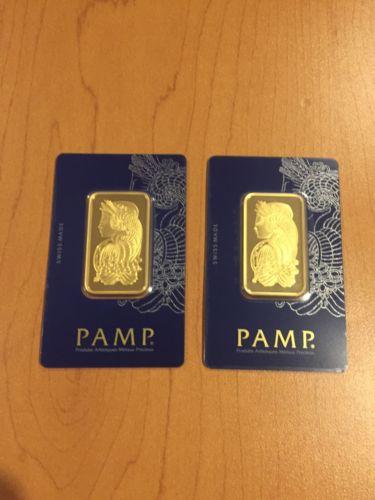 Lot of 2 - 1 oz Gold Bar PAMP Lady Fortuna Veriscan .9999 Fine (In Assay) 24K