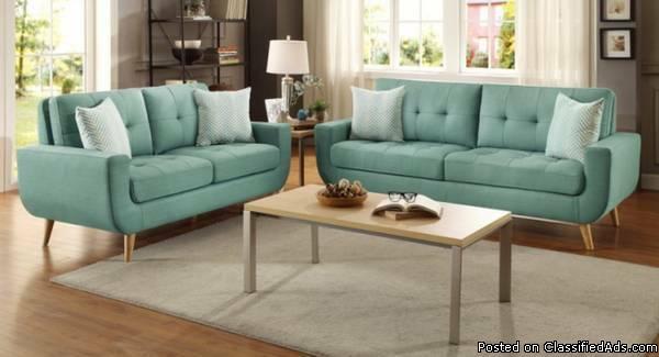 Mid Centery Modern Sofa + Love