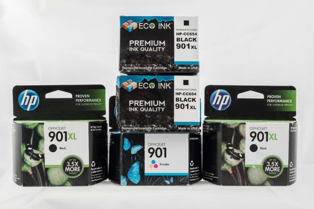 LOT of HP 901XL HP INK! (4) 901XLBlack (1) 901 Tri-color BRAND NEW! NOS!!!