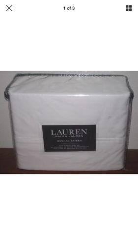 RALPH LAUREN Dunham Sateen 4 pc X-Deep Queen Sheet Set White 300 TC