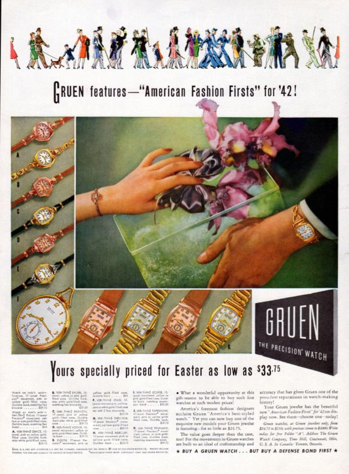 1942 Gruen Watch ad -American Fashion Firsts -----t987
