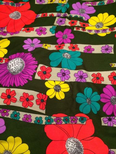 Vintage THC Hawaiian Textiles Fabric 12224 Bright Floral Purple Pink Yellow Teal