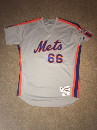 Josh Edgin 2016 Team Issued NY Mets 1986 Road Throwback Jersey - Patch - MLB