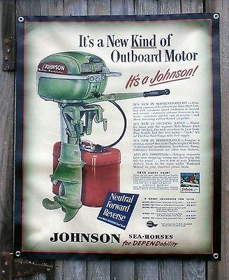Vintage Johnson Outboard Motor Banner