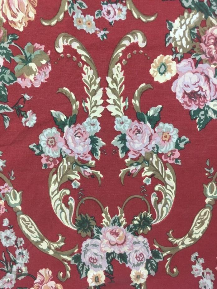 Ralph Lauren Marsailles Danielle Red Floral Queen Flat Sheet Ruffled