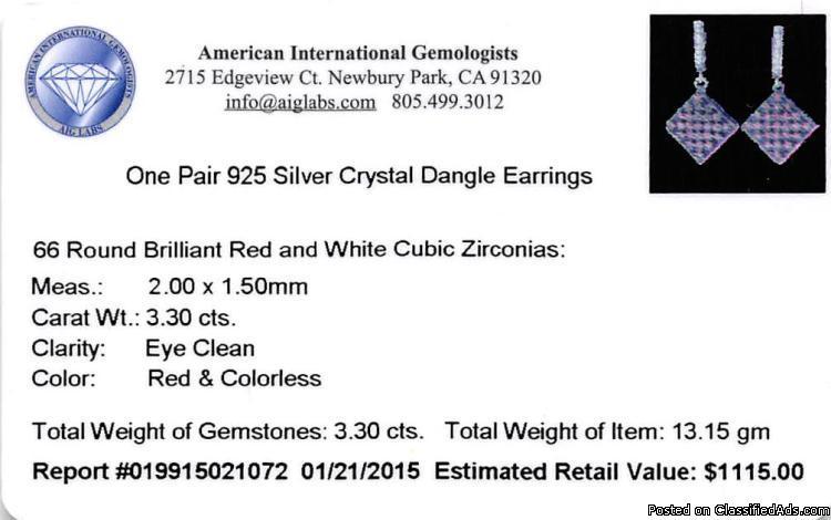 SILVER 3.3ctw Cubic Zirconia Earrings