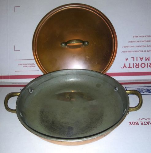Vintage Copral Made In Portugal Copper & Brass two handle gratin Pan