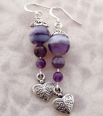 Amethyst Beaded Dangle  Heart Earrings, Victorian, Boho Style, Handmade, Purple
