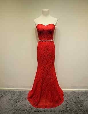 Wedding Reception Sweetheart Formal Dress Red Lace Mermaid Swarovski Belt