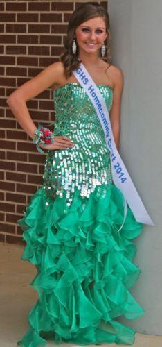Sherri Hill Prom Formal Dinner Dress Size 00 Green Aqua