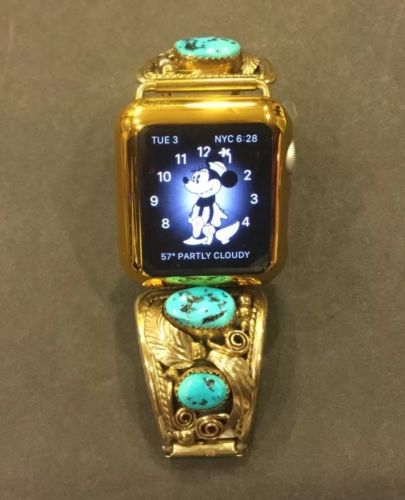 VTG $158 12K Gold Sterling Turquoise 42mm or 38mm apple watch band signed