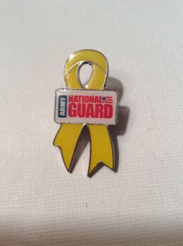 Army National Guard Yellow Ribbon Silver Tone Enamel Pin