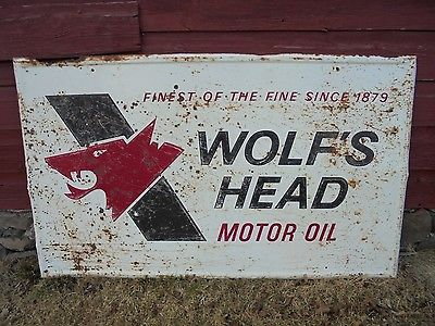 Vintage Wolfs Head Motor Oil SIGN 36