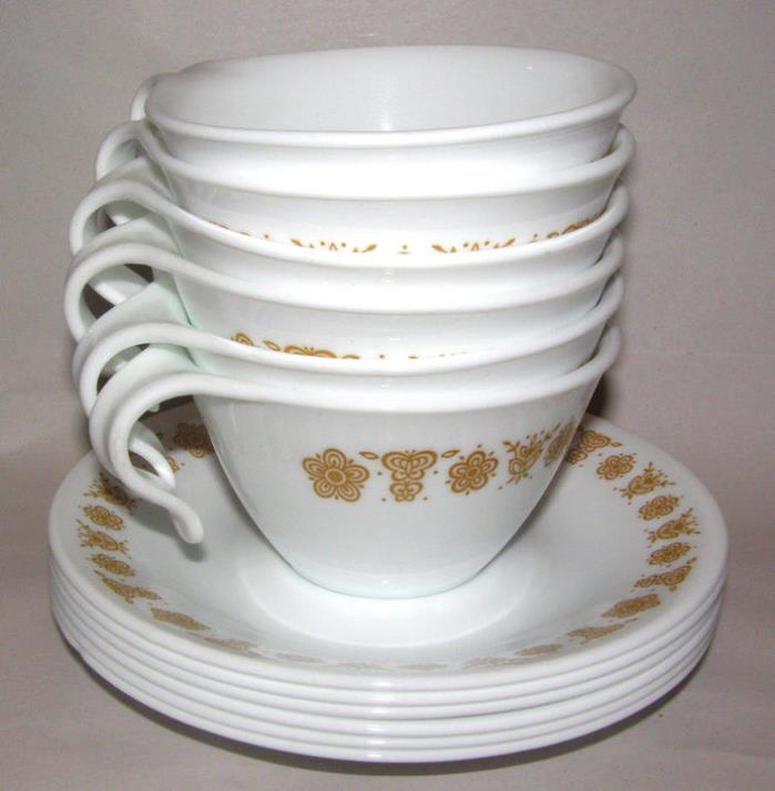 Corelle Dishes Butterfly Gold Open Handle Cups And Saucers 12 Sets