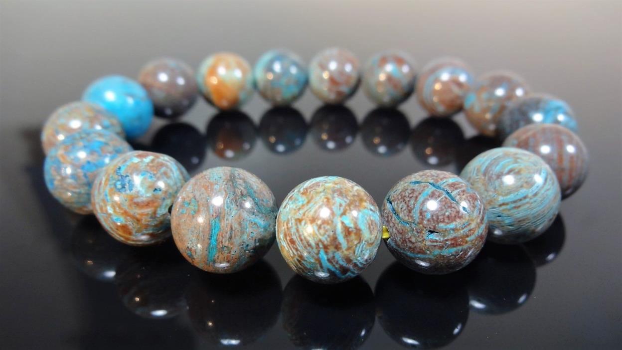 Genuine Turquoise Blue Jasper Bead Bracelet for Men (On Gold Stretch) 12mm - 8