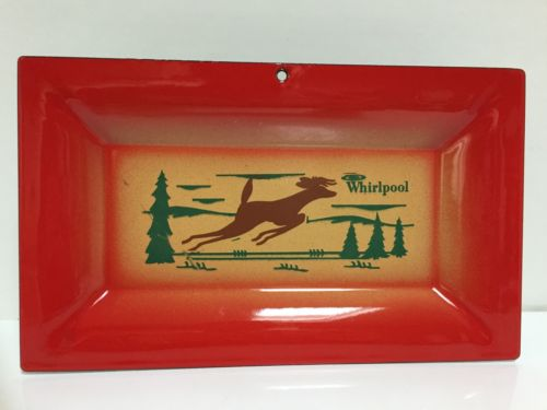 Atomic Era WHIRLPOOL Enamel Lodge Advertising Tray Deer Pine Trees Red 10