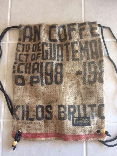 Java Monster Coffee Energy Drink Promo Burlap Drawstring Bag NEW