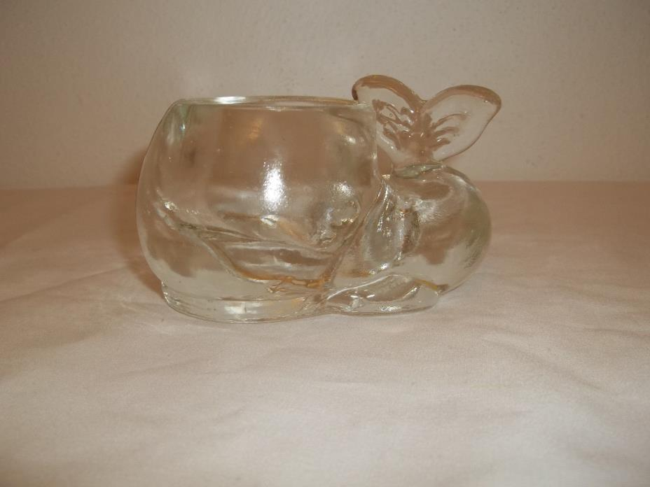 CLEAR GLASS SNAIL TEA LIGHT VOTIVE HOLDER HEAVY GLASS
