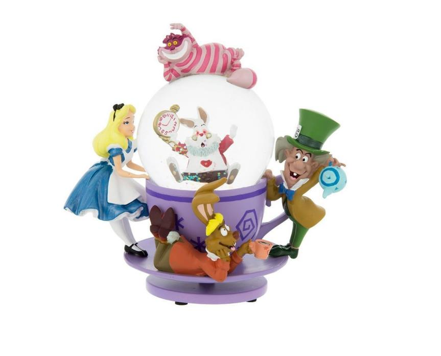 Disney Parks Exclusive Alice in Wonderland Tea Party Spinning Snowglobe NEW