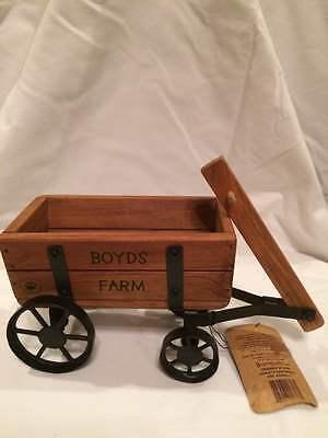 Boyd's Bears Wood Wagon W/Metal Wheels Decorative Decor Item Boyd's Farm Wagon