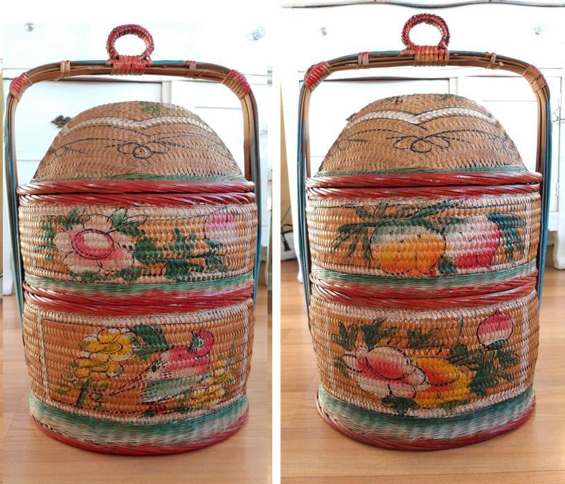 Vintage Chinese Wedding Basket Painted Oriental Stacking Two Tier Basket